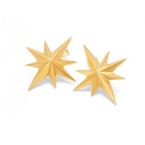 Louise Kragh Gold Vermeil Compass Star Stud Earrings | Jewellery