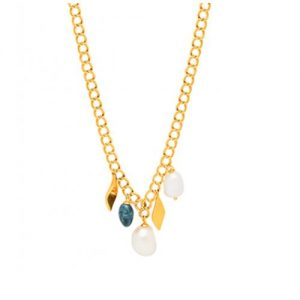 Louise Kragh Jewellery Gold Vermeil Baroque Leaf Necklace | Pearl