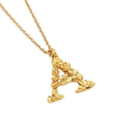 Alex Monroe Jewellery Gold Floral Letter