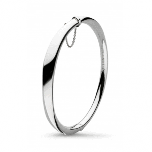 Kit Heath Silver Bevel Curved Hinged Bangle | Jewellery