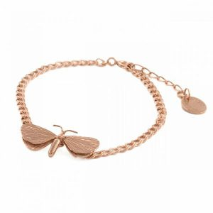 Alex Monroe Jewelelry Rose Gold Drab Looper Moth Bracelet