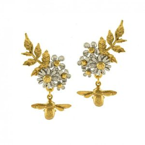 Alex Monroe Jewellery Posy Cluster Bee Earrings | Silver | Gold