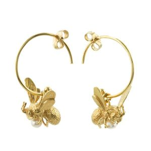 Alex Monroe Gold Flyng Bee Hoop Earrings with Pearl