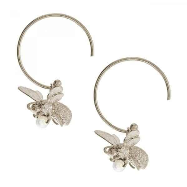 Alex Monroe Silver Flying Bee Hoop earrings
