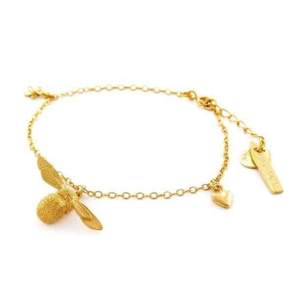 Alex Monroe Jewellery Gold Vermeil Baby Bee Charm Bracelet