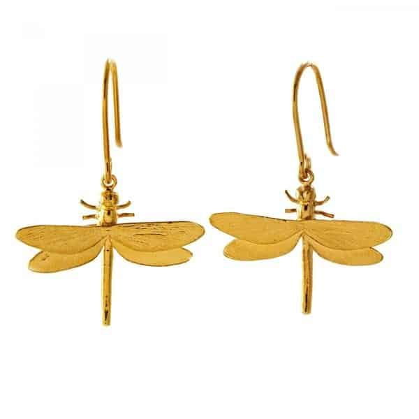 Alex Monroe Gold Dragonfly Earrings