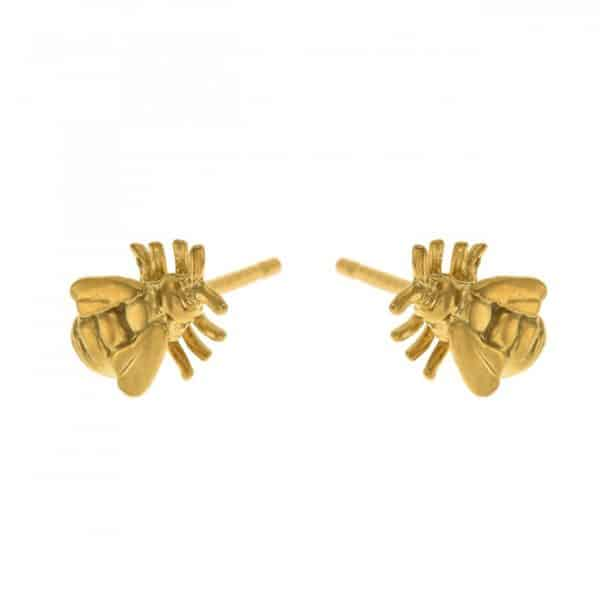 Alex Monroe Little Bee Stud Earrings | Gold Vermeil