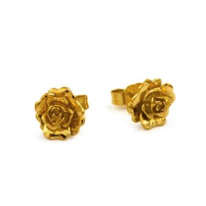Alex Monroe Jewellery Gold Vermeil Rosa Damasca Stud Earrings