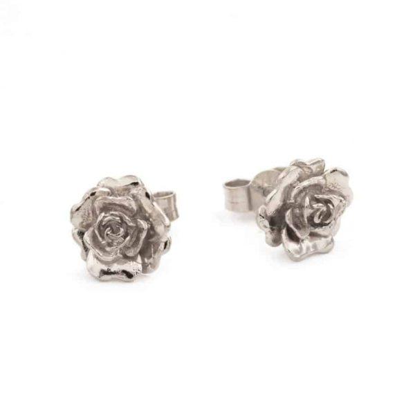 Alex Monroe Jewelelry Silver Rosa Damasca Stud Earrings