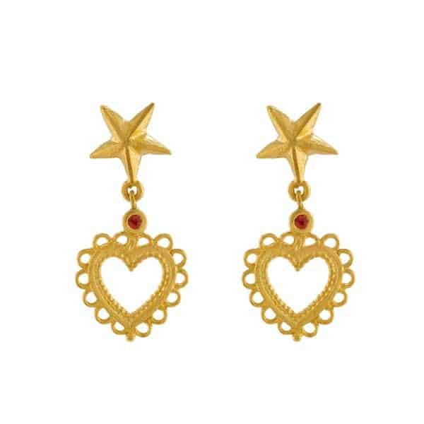 Alex Monroe Gold Vermeil Star Stud Earrings with Lace Edged Heart Drop