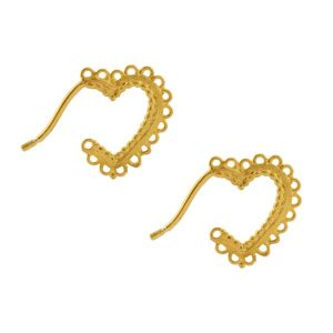 Alex Monroe Gold Vermeil Small Lace-Edged Heart Hoop Earrings