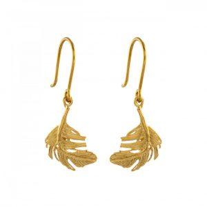 Alex Monroe Jewellery Gold Vermeil Little Feather Drop Earrings