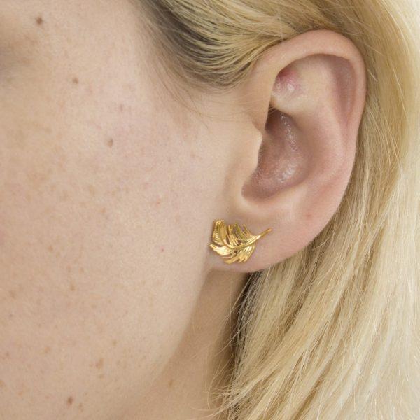 Alex Monroe Jewellery Feather Stud Earrings