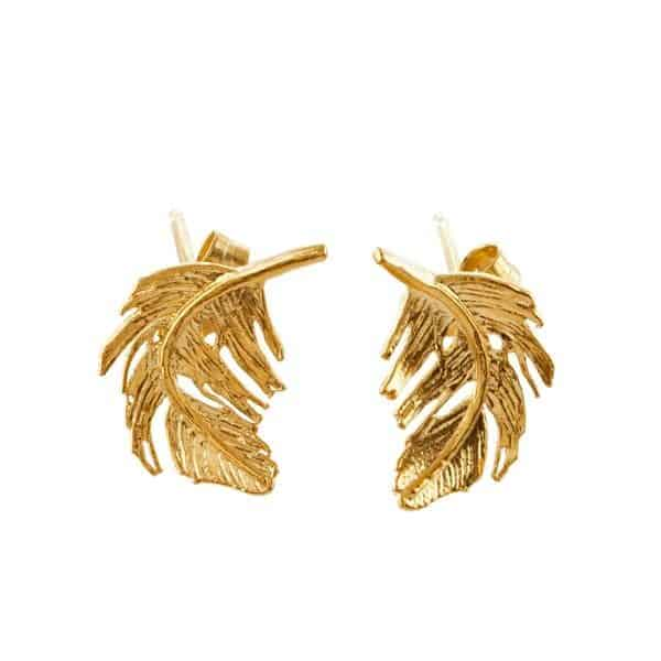 Alex Monroe Jewellery Gold Feather Stud Earrings