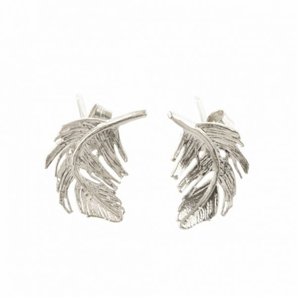 Alex Monroe Silver Feather Stud earrings