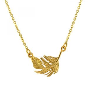 Alex Monroe Gold In;ine Feather Necklace