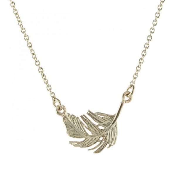 Alex Monroe Silver Little Feather In-Line Necklace | Jewellery
