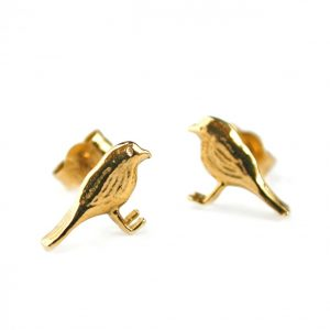 Alex Monroe Jewellery Gold Vermeil Little Robin Stud Earrings