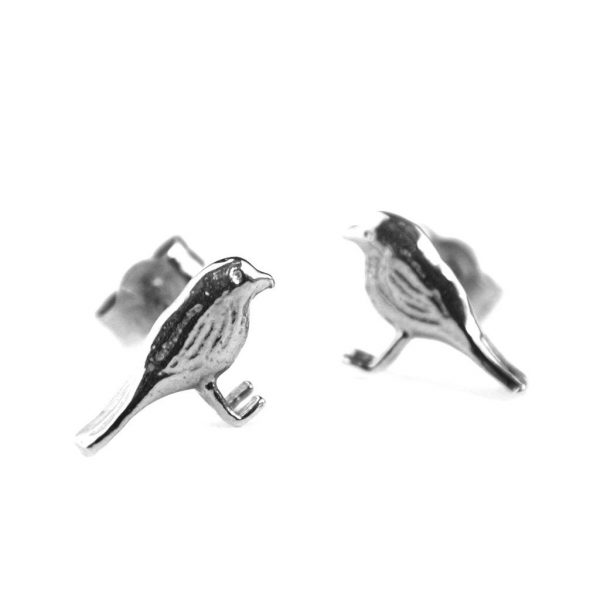 Alex Monroe Jewellery Silver Little Robin Stud Earrings