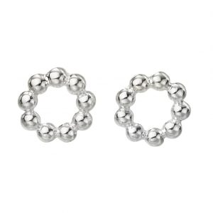 Sterling silver cut-out circle stud earrings with bobble detail