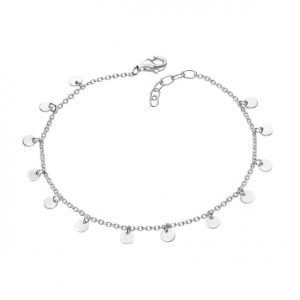 Sterling silver disc drop bracelet.