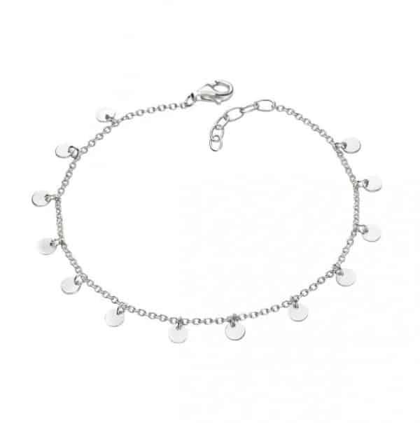 Sterling silver disc drop bracelet.