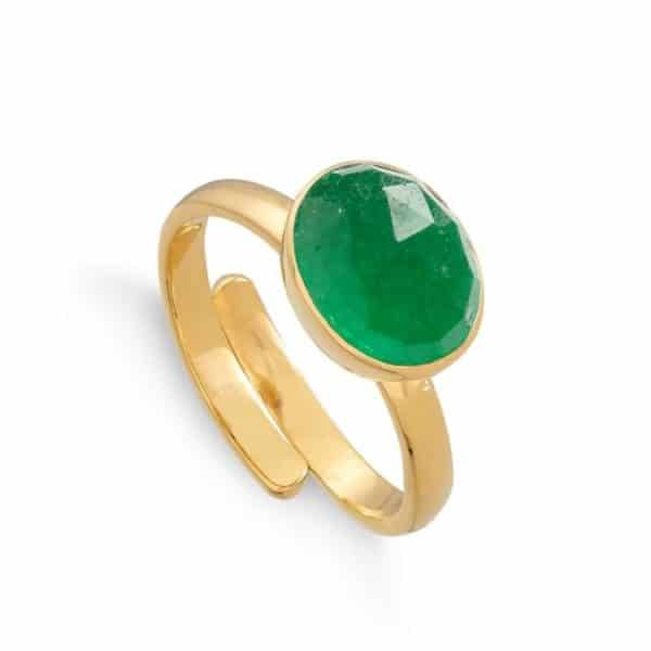 Adjustable gold vermeil ring with faceted emerald quartz gemstone.