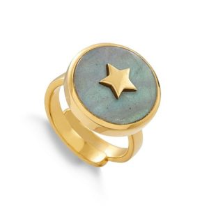 Gold plated sterling silver adjustable Stellar ring with labradorite and star.
