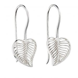 Sterling silver leaf cut out drop earrings