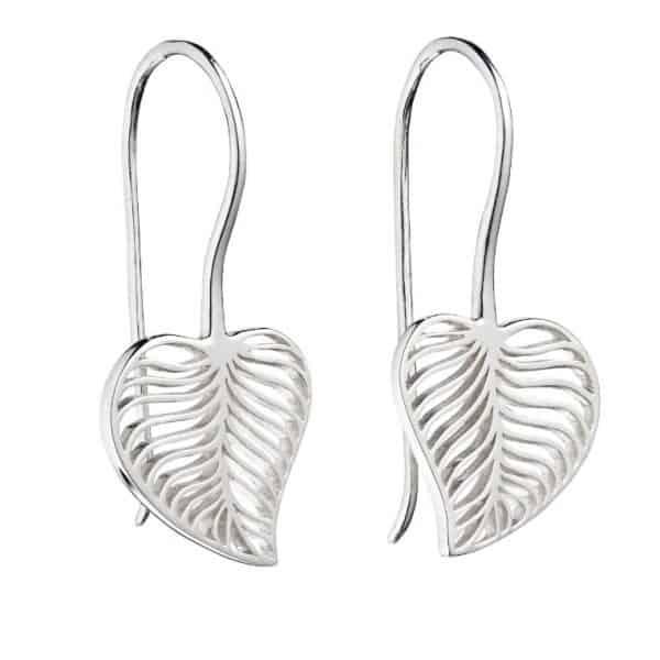 Sterling silver leaf cut out drop earrings