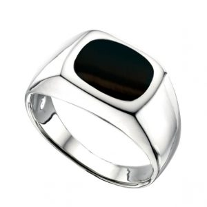 Sterling silver black onyx signet ring.