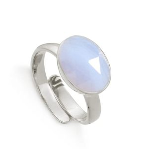 Adjustable sterling silver ring with blue lace agate gemstone.