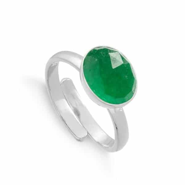 Adjustable sterling silver ring with faceted emerald quartz gemstone.