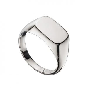 Sterling silver rectangular signet ring.