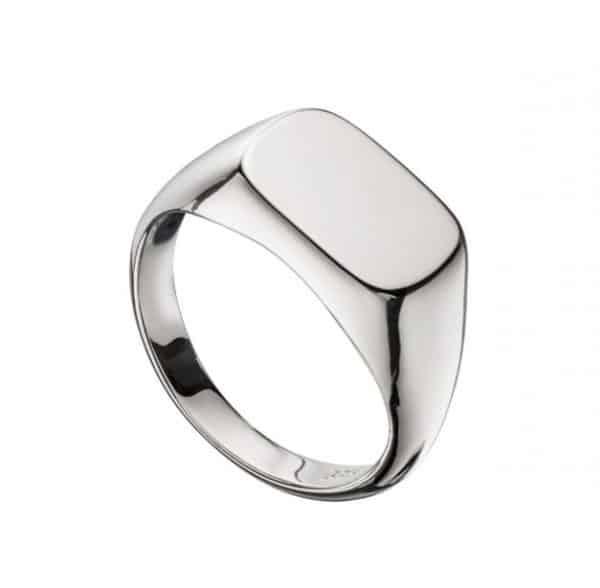 Sterling silver rectangular signet ring.