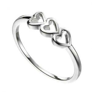 Sterling silver triple heart ring