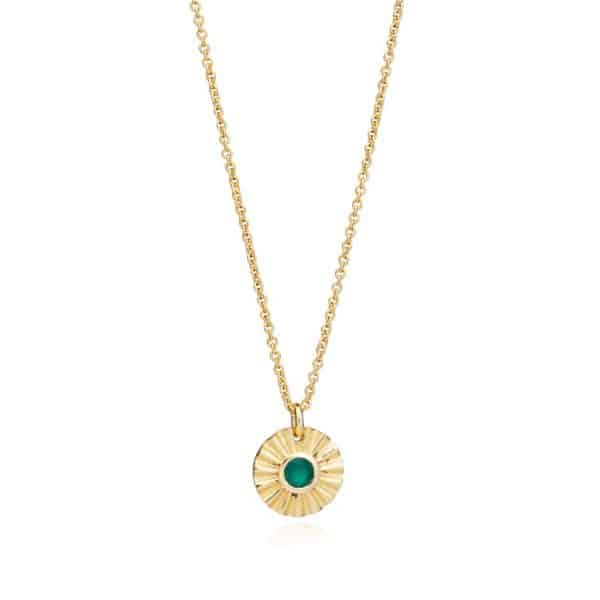 Gold plated brass round pendant necklace with green onyx gemstone, by Azuni