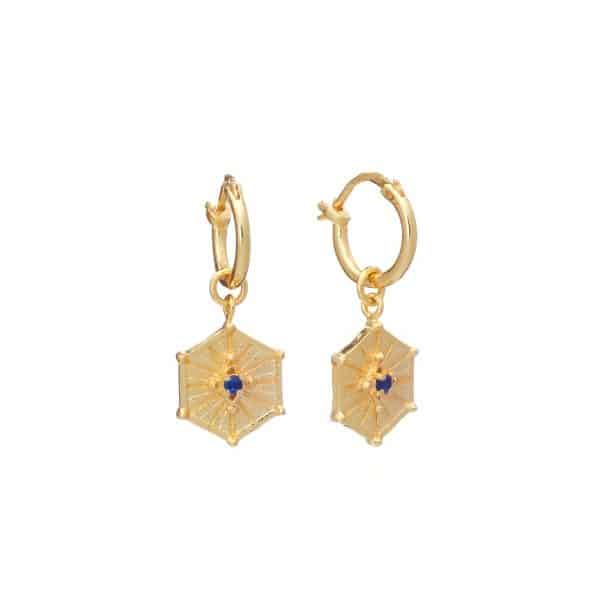 Gold plated brass huggie hoops with hexagon charms and iolite gemstones, by Azuni