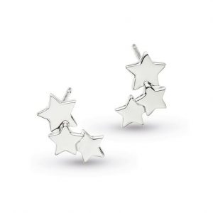 Rhodium plated sterling silver star stud earrings, with three clustered stars.