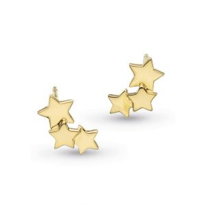 18 carat gold plated sterling silver star cluster stud earrings, with three stars.