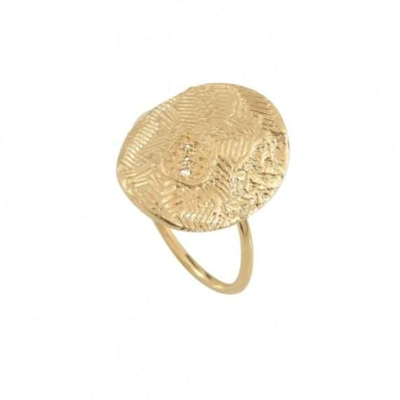 18 carat gold plated brass brushed ring with mini zircons and engraved details, by Louise Hendricks