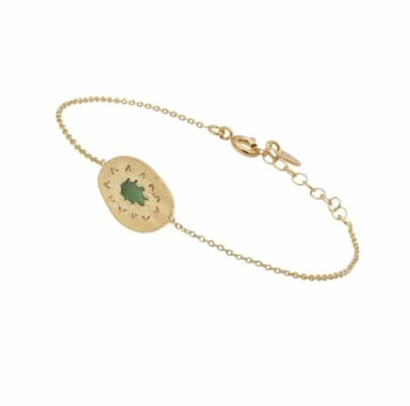 18 carat gold plated brass bracelet with pear emerald and engraved details, by Louise Hendricks