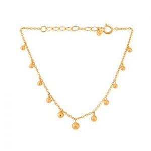 18 carat gold plated sterling silver chain bracelet with ball charms, by Pernille Corydon.