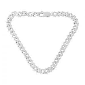 Unisex sterling silver flat curb chain bracelet, by Pernille Corydon.