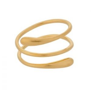 18 carat gold plated sterling silver brushed effect wrap ring, by Pernille Corydon.