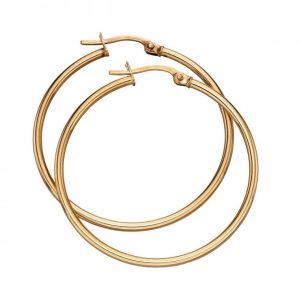 Solid 9 carat gold hinged hoop earrings.