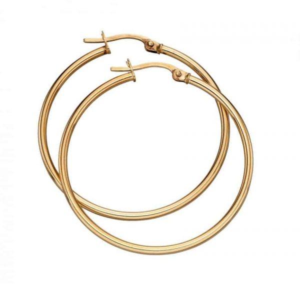 Solid 9 carat gold hinged hoop earrings.