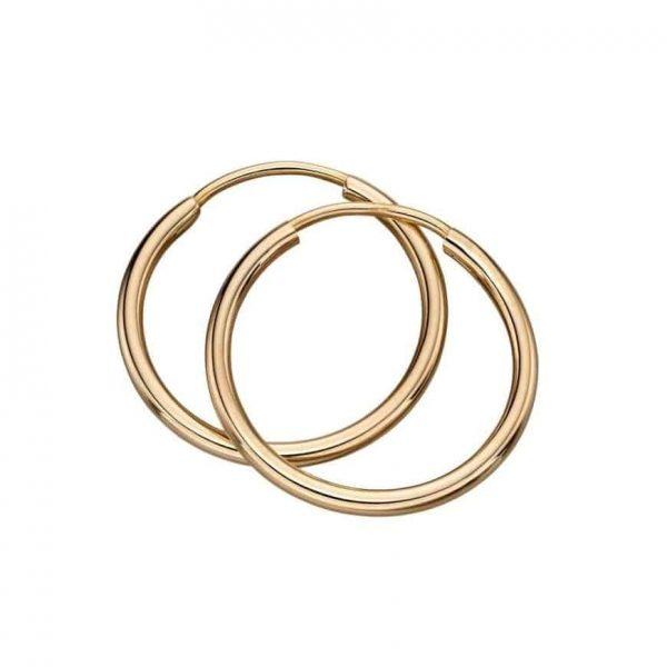 9 carat solid gold sleeper hoops.