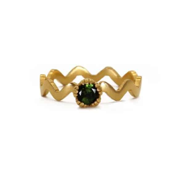 18 carat gold plated silver zigzag ring with green tourmaline gemstone, handmade by Rosie Kent