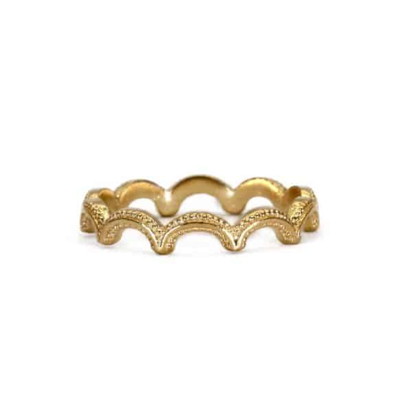 18 carat gold plated sterling silver wiggle ring with textured details, handmade by Rosie Kent.